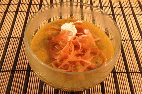 Krämig morots- och sötpotatissoppa