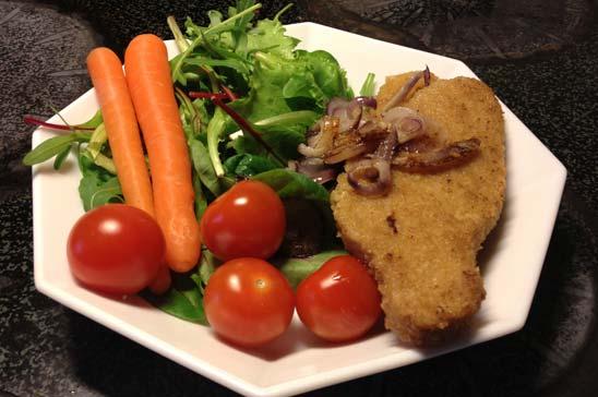Schnitzel med enkel sallad